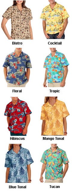 New Stain Release, Tropical Print Camp Shirts - All Colors