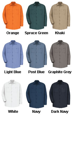 Mens 100% Cotton Long Sleeve Uniform Shirt - All Colors