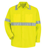 Custom Red Kap Long-Sleeve Hi-Vis Shirt with Reflective Striping.