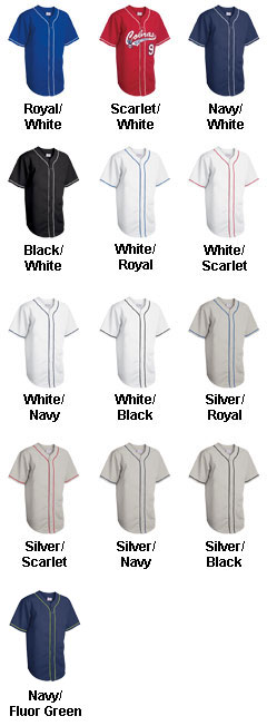 Youth 6-Button Baseball Jerseys with Sewn-On Braid - All Colors