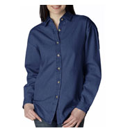 Custom UltraClub Womens Long Sleeve Denim Shirt