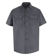 Custom Heathered Poplin Red Kap Short Sleeve Work Shirt