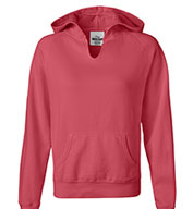 Comfort Colors Womens Garment-Dyed Front-Slit Hooded Fleece