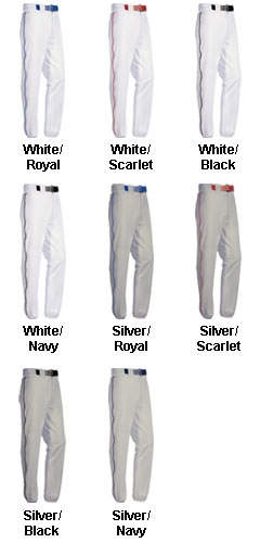 Youth Piped 12 oz Polyester Baseball Pants - All Colors