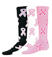 Custom Youth Pink Ribbon Game Socks
