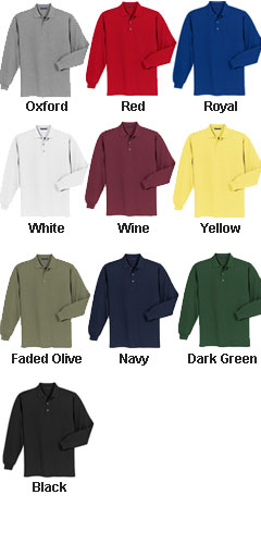 Adult Long Sleeve Pique Knit Sport Shirt - All Colors