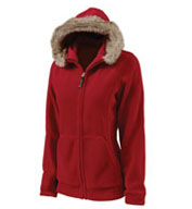 Womens Faux Fur Trimmed Fleece Hoodie by Charles River Apparel