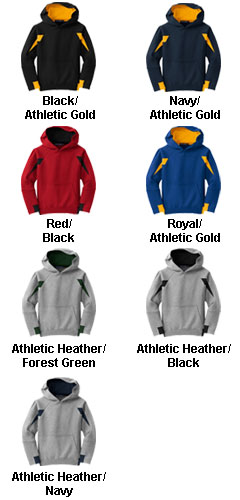 Youth Sport-Tek� - Color-Spliced Pullover Hooded Sweatshirt - All Colors