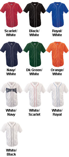 Adult Warning Track Piped Full Button Jersey - All Colors
