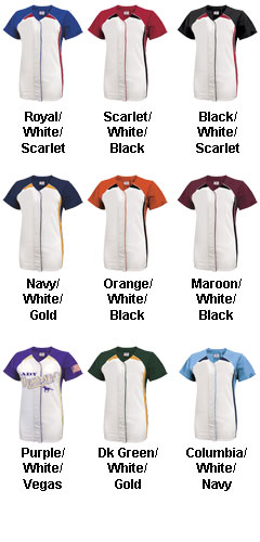 Girls Pulse Short Sleeve Faux Full Button Down Softball Jersey - All Colors