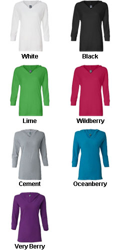 J. America - Ladies ¾ Sleeve Hooded Slub Tee - All Colors