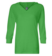 J. America - Ladies � Sleeve Hooded Slub Tee