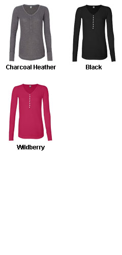 J. America - Ladies Thermal Henley - All Colors