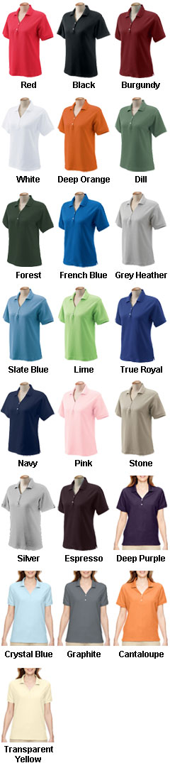 Ladies Pima Piqué Short-Sleeve Y-Collar Polo - All Colors