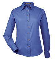 Custom Harriton Ladies Long-Sleeve Twill Shirt with Stain-Release