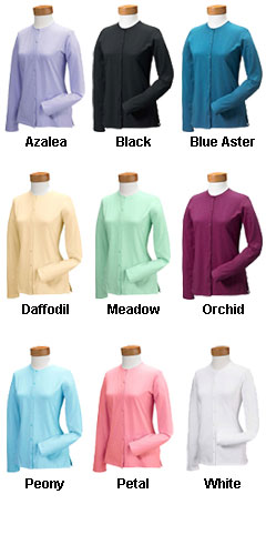 Devon & Jones Ladies Stretch Jersey Long-Sleeve Cardigan - All Colors