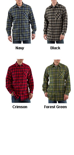 Mens Long Sleeve Flannel Plaid Shirt by Carhartt - All Colors