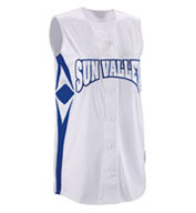 Womens Supernova Sleeveless Faux Full Button Softball Jersey
