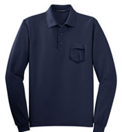 Custom Long Sleeve Silk Touch� Polo with Pocket Mens
