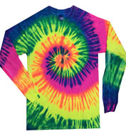 Custom Adult Tie Dye Multi Color Long Sleeve Tshirt
