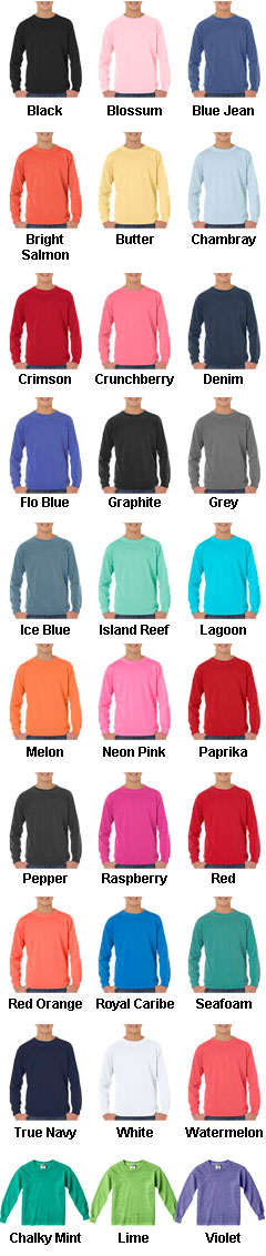 Youth Pigment Dyed 6.1 oz. Long Sleeve Tshirt - All Colors