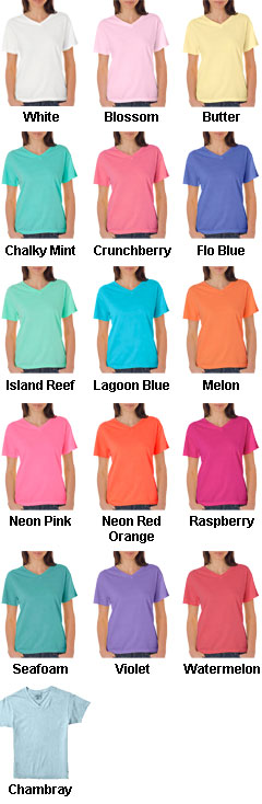 Comfort Colors Ladies V-Neck Pigment Dyed Tee - All Colors