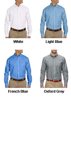 Mens Long Sleeve Oxford Shirt with Stain-Release - All Colors