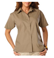 Custom Ladies Short Sleeve Budget Friendly Poplin Shirt