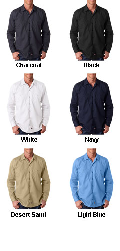 Dickies Mens Long-Sleeve Industrial Poplin Work Shirts - All Colors