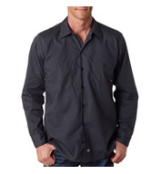 Custom Dickies Men's Long-Sleeve Industrial Poplin Work Shirts