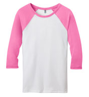 Custom District Juniors 50/50 3/4 - Sleeve Raglan Tee