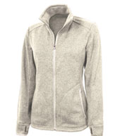 Custom Ladies Heathered Fleece Sweater Jacket by Charles River Apparel