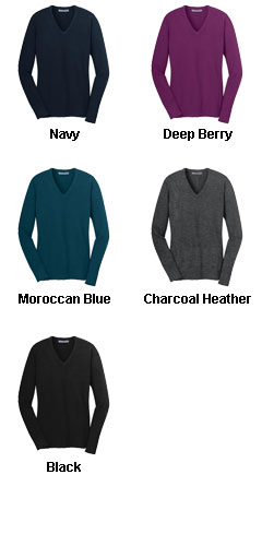 Ladies V-Neck Fine Gauge Sweater - All Colors