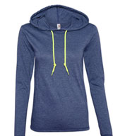 Ladies Lightweight Long Sleeve Hooded T-Shirt