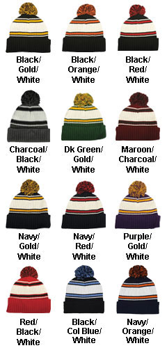 Pom Pom Watch Cap with Cuff - All Colors