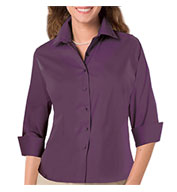 Custom Ladies 3/4 Sleeve Fine Line Twill Shirt