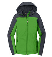 Ladies Hooded Color Block Soft Shell Jacket