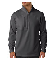 Custom UltraClub® Adult Cool & Dry Box Jacquard 1/4-Zip Micro-Fleece