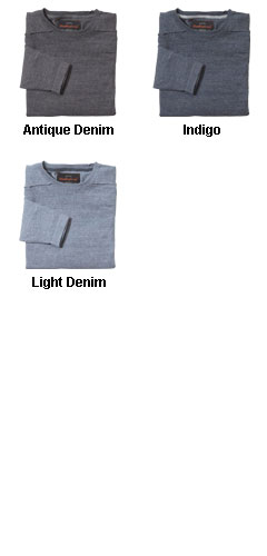 Mens Vintage Denim Crewneck Cotton Sweater - All Colors