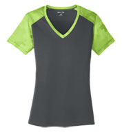 Custom Ladies CamoHex Colorblock V-Neck Tee