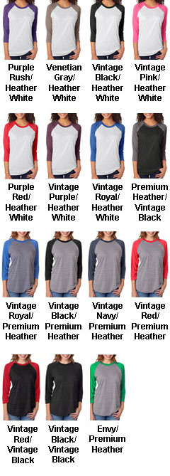 Next Level Unisex Tri-Blend 3/4-Sleeve Raglan  - All Colors