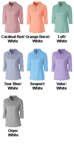 Ladies Blaine Oxford 3/4 Sleeve Zip Polo - All Colors
