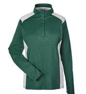 Ladies Excel Melange Interlock  Performance Quarter-Zip Top