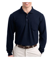 Custom Tall Silk Touch™ Long Sleeve Polo With Pocket