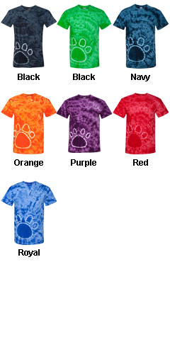 Adult Team Pawprint Tie-Dyed T-Shirt - All Colors