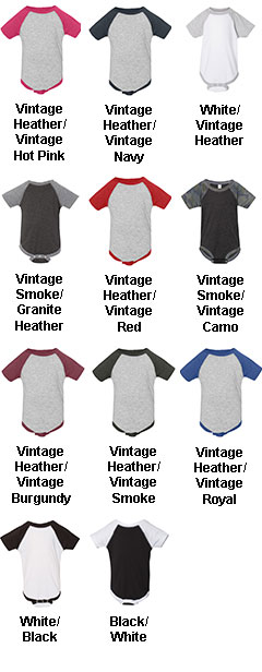 Fine Jersey Infant 3/4 Sleeve Baseball Onesie - All Colors