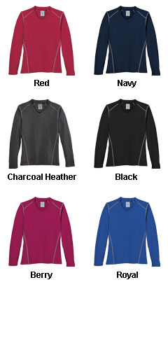 Ladies Contrast Stitch Long Sleeve V-Neck Tee - All Colors