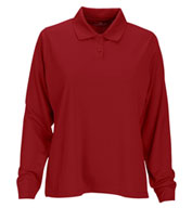 Custom Womens Vansport™ Omega Long Sleeve Solid Mesh Tech Polo