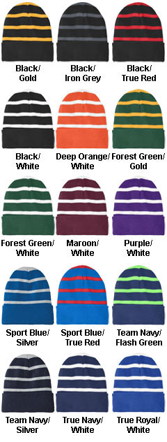 Striped Beanie with Solid Band - All Colors