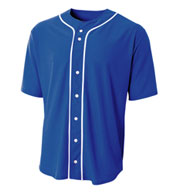Adult Short Sleeve Full Button Baseball Top